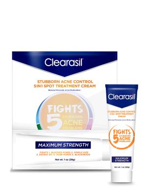 Clearasil Stubborn Acne Control 5in1 Spot Treatment Cream, 1oz