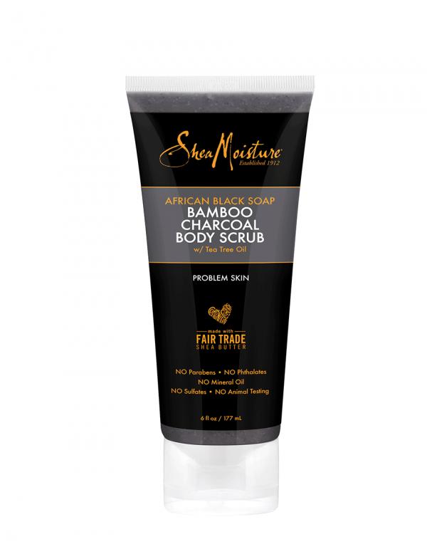 Shea Moisture African Black Soap Bamboo Charcoal Body Scrub,6oz