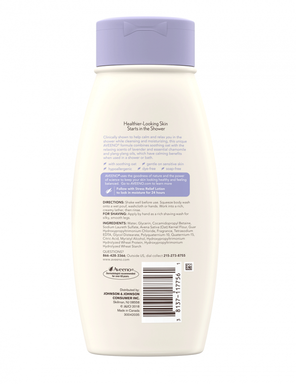 Aveeno Stress Relief Body Wash with Lavender & Chamomile, 18oz