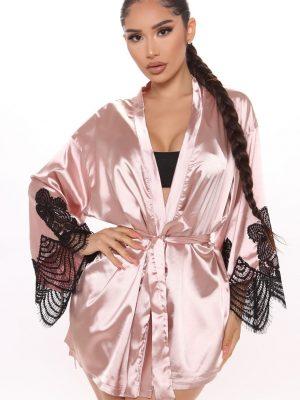 Fashion Nova Lavish Me Satin Lace Mini Robe