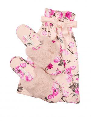 Victoria's Secret Signature Satin Fur Trim Slippers