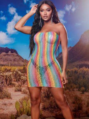 FashionNova Rainbow Bright Sheer Mesh Dress