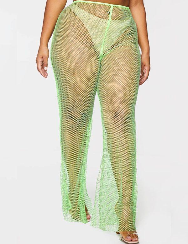 PrettyLittleThings Plus Lime Diamante Fishing Split Hem Trousers